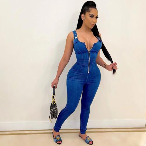 Dark blue Women's summer new high elastic imitation denim overalls overalls