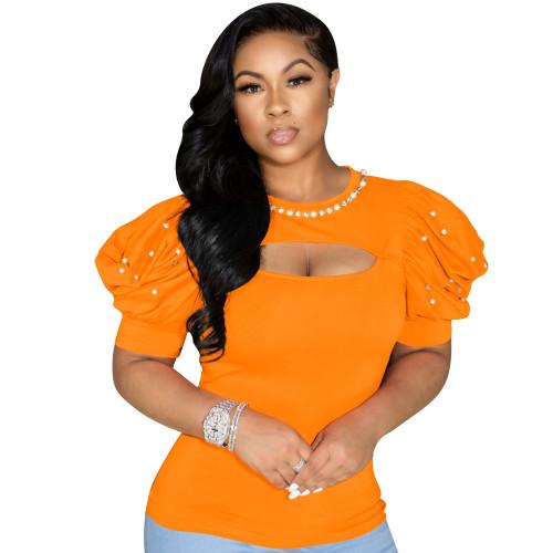 Orange Women's Summer New Pearl Puff Sleeve Top High Elastic Short Sleeve T-shirt