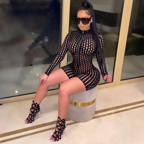 Black Women's high-elastic mesh slim fit sexy jumpsuit see-through grid