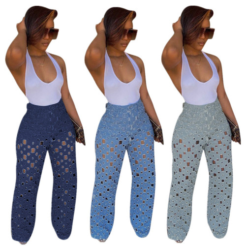 Light blue New style ripped jeans hollow wide leg pants