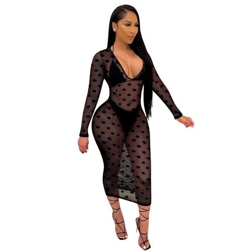 Black European and American Ladies Polka Dot Bikini Mesh Blouse Three-piece Swimsuit Set