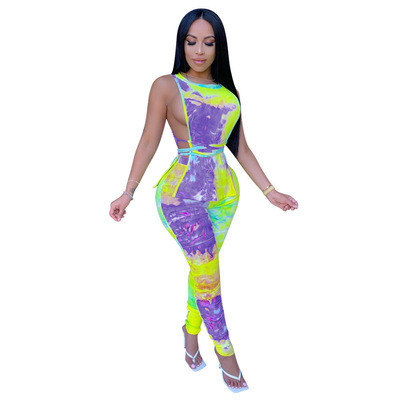 Purple Women's new printed two-piece pleated pants suit