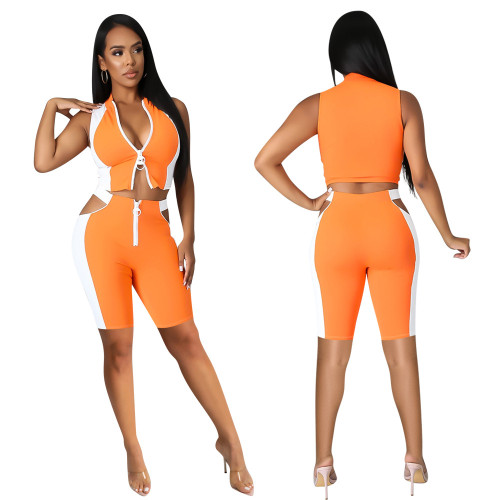 Orange Women's summer high elastic casual sleeveless five-point pants two-piece suit