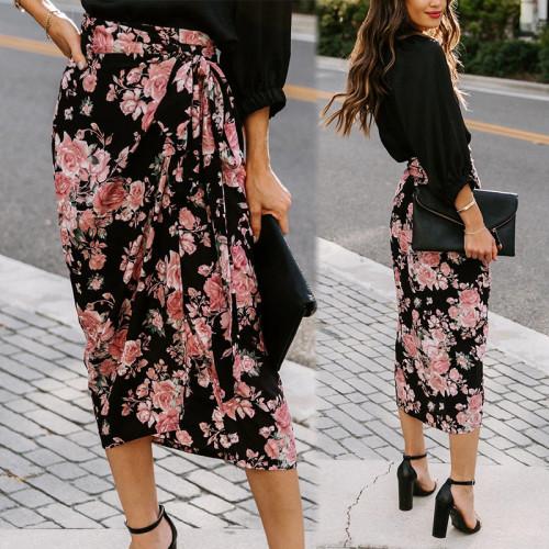 Photo Color Ladies Printed Split Strap Irregular Skirt