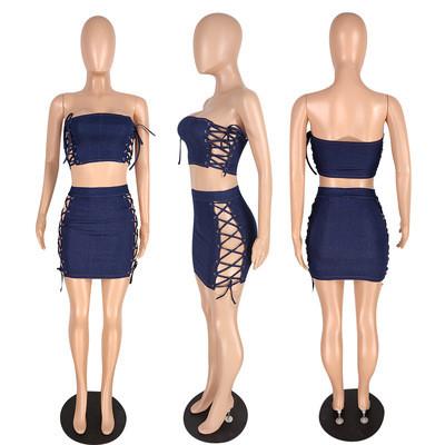 Navy blue Women's summer washed denim suit skirt with denim