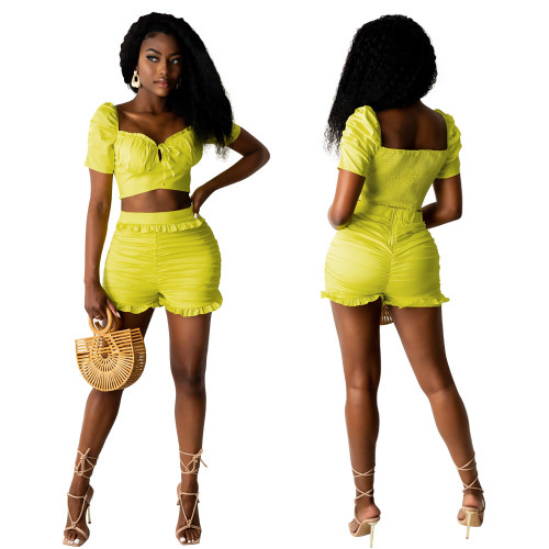 Yellow Ladies high elastic imitation denim pleated high waist ruffle shorts two-piece suit