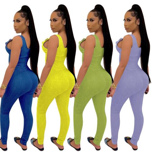Green Women's summer new high elastic imitation denim overalls overalls