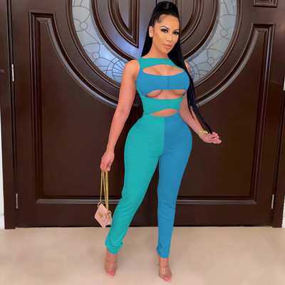 Green blue Women's summer high elastic hollow two-piece two-color fashion personality suit
