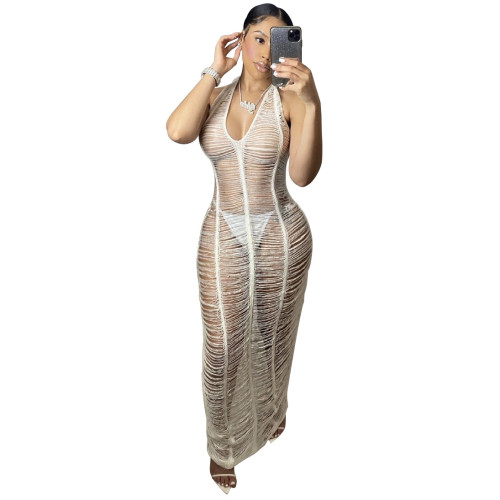 White New ladies beach long skirt sexy see-through body deep V-neck halter neck lace tight skirt