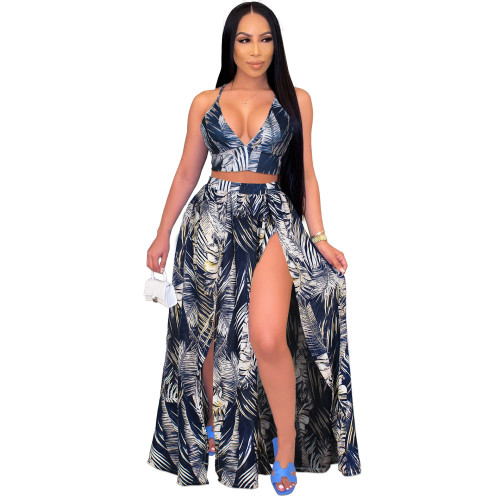 Blue European and American sexy camisole print big swing skirt two-piece beach skirt suit