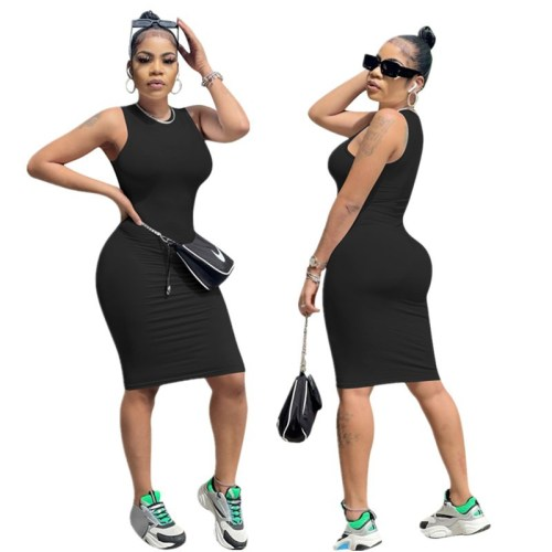 Black Women's solid color high elastic casual fashion sleeveless dress