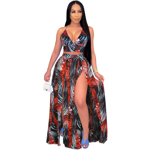 Red European and American sexy camisole print big swing skirt two-piece beach skirt suit