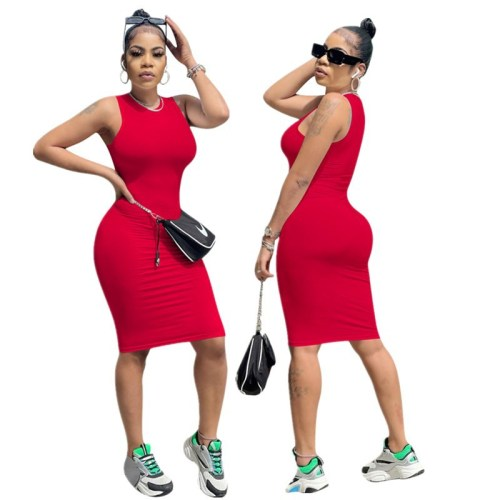 Red Women's solid color high elastic casual fashion sleeveless dress