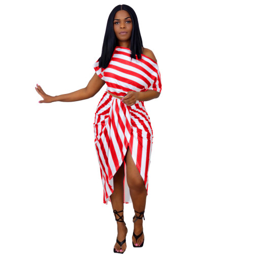 Women's irregular fashion casual striped two-piece suit