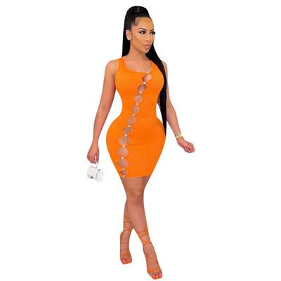 Orange Women's new boutique high-elastic pit strip one-piece short skirt oblique hole dress