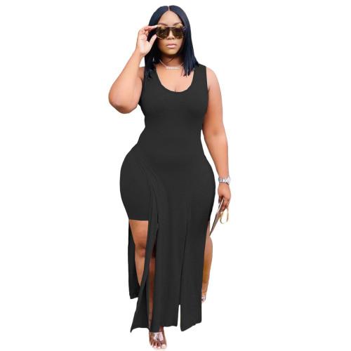 Black Women's imitation cotton pull frame irregular top fashion casual suit