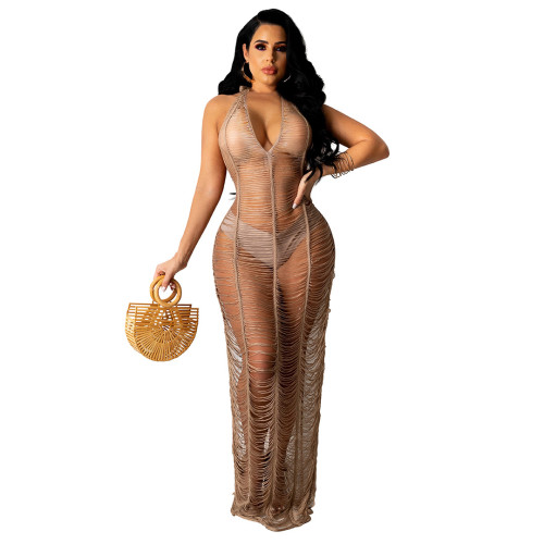 Camel New ladies beach long skirt sexy see-through body deep V-neck halter neck lace tight skirt