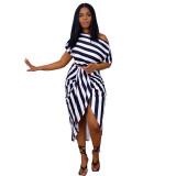 Bule Women's irregular fashion casual striped two-piece suit