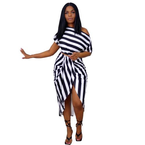 Black Women's irregular fashion casual striped two-piece suit