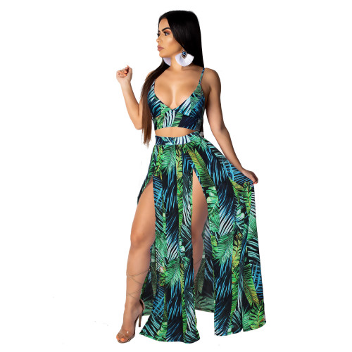 Green European and American sexy camisole print big swing skirt two-piece beach skirt suit