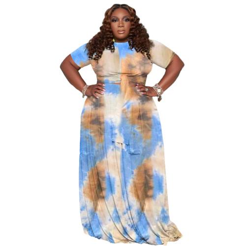 Bule Women's plus size tie-dye printing two-piece suit