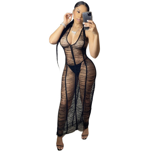 Black New ladies beach long skirt sexy see-through body deep V-neck halter neck lace tight skirt