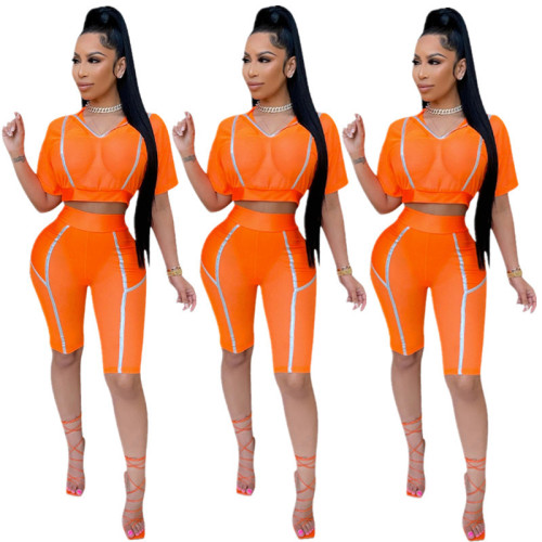 Orange Women's summer new high-elastic sports and leisure two-piece suit