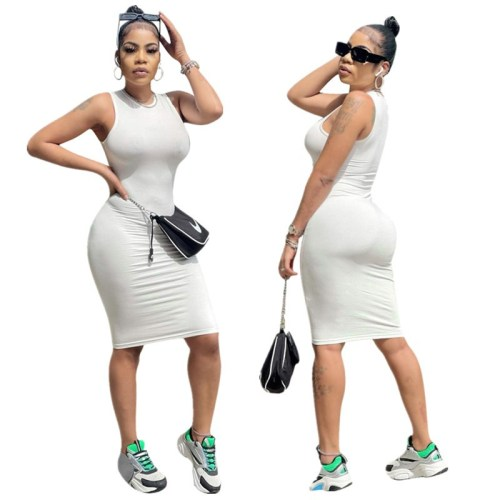 White Women's solid color high elastic casual fashion sleeveless dress