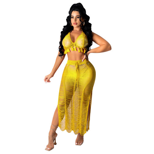 Yellow Women's sexy see-through fringed knitted beach skirt suit