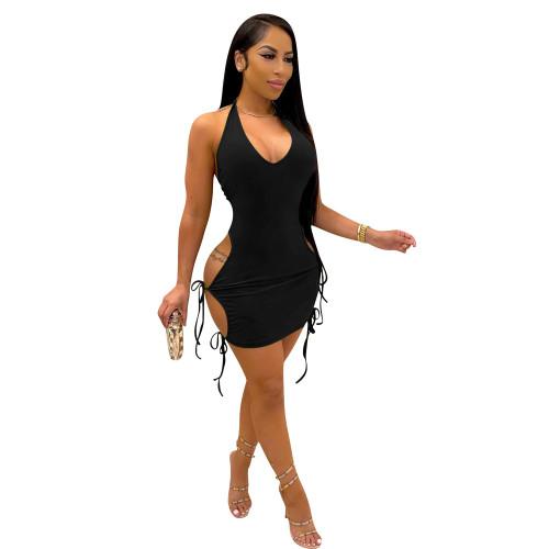 Black Women's high elastic strappy hollow slim dress sexy summer dress