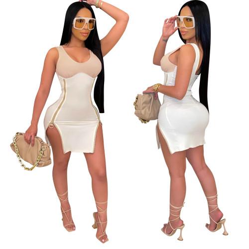 White Ladies high elastic zipper slit sleeveless dress