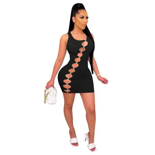 Black Women's new boutique high-elastic pit strip one-piece short skirt oblique hole dress