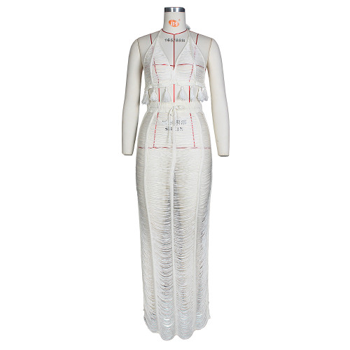 White Women's sexy see-through fringed knitted beach skirt suit