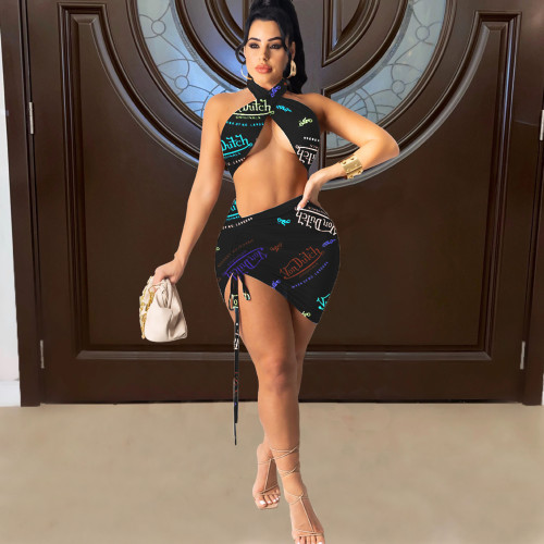 Black Fashion sexy women's English letter printing two-piece suit