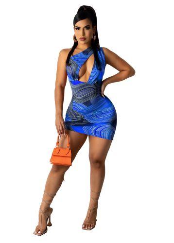 Blue Fashionable sexy women's dress with print drawstring dress skirt