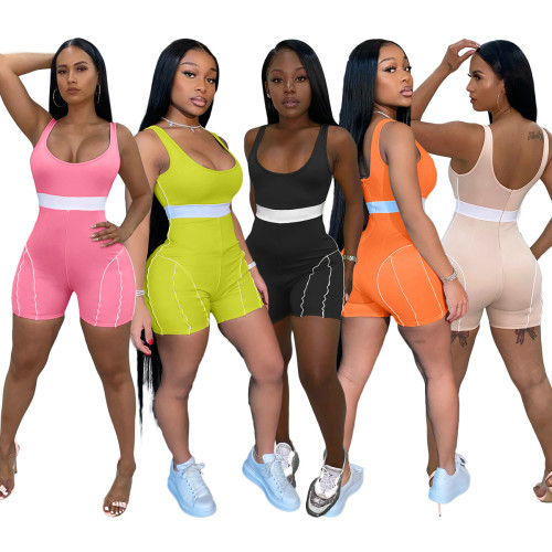Orange European and American fashion women's clothing personality sexy color matching webbing jumpsuit