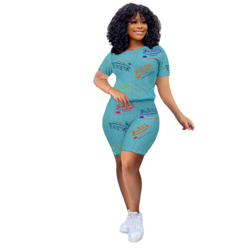 Light blue Fashion women's letter printed yoga fabric leisure sports suit two-piece suit