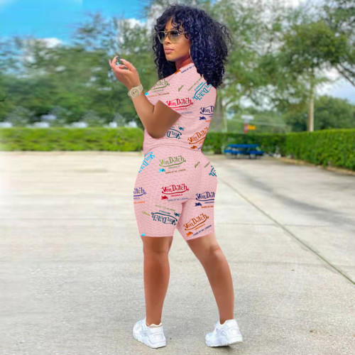 Pink Fashion women's letter printed yoga fabric leisure sports suit two-piece suit