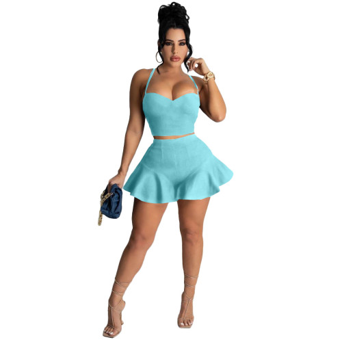 Light blue Casual sexy solid color slim fit ruffle shorts sports suit