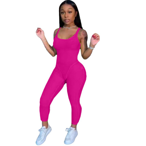Rose Red Fashion women's clothing solid color suspenders sexy jumpsuit