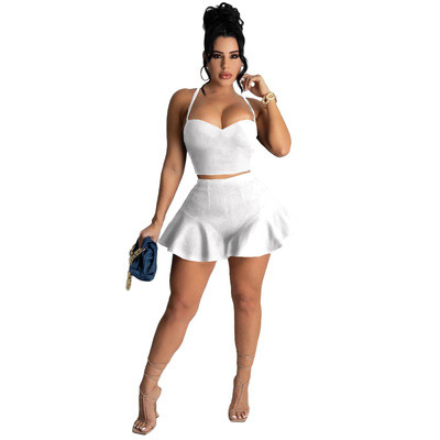 White Casual sexy solid color slim fit ruffle shorts sports suit