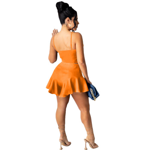 Orange Casual sexy solid color slim fit ruffle shorts sports suit