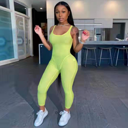 Fluorescent green Fashion women's clothing solid color suspenders sexy jumpsuit