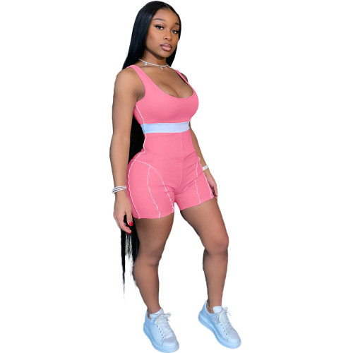 Pink European and American fashion women's clothing personality sexy color matching webbing jumpsuit