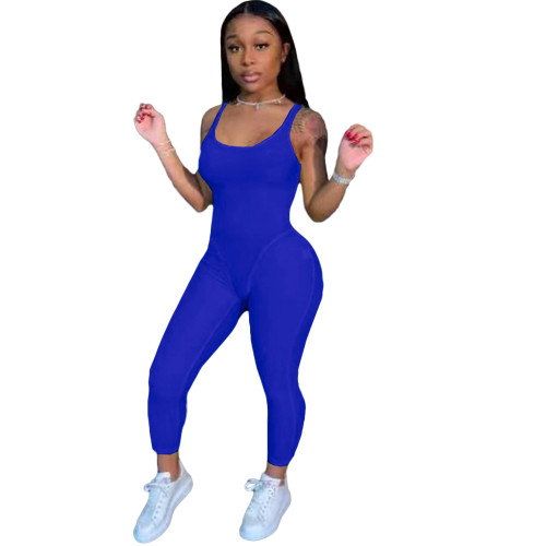 Blue Fashion women's clothing solid color suspenders sexy jumpsuit
