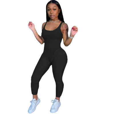 Black Fashion women's clothing solid color suspenders sexy jumpsuit