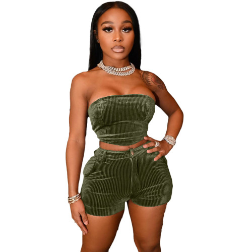 ArmyGreen Women's Two-piece Pure Color Sexy Wrapped Chest Shorts Set (with pockets)