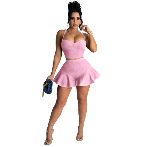 Pink Casual sexy solid color slim fit ruffle shorts sports suit