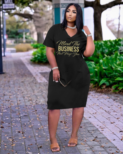 Black Women's fashion sexy loose V-neck letter print casual dress with pockets