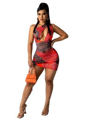 Red Fashionable sexy women's dress with print drawstring dress skirt